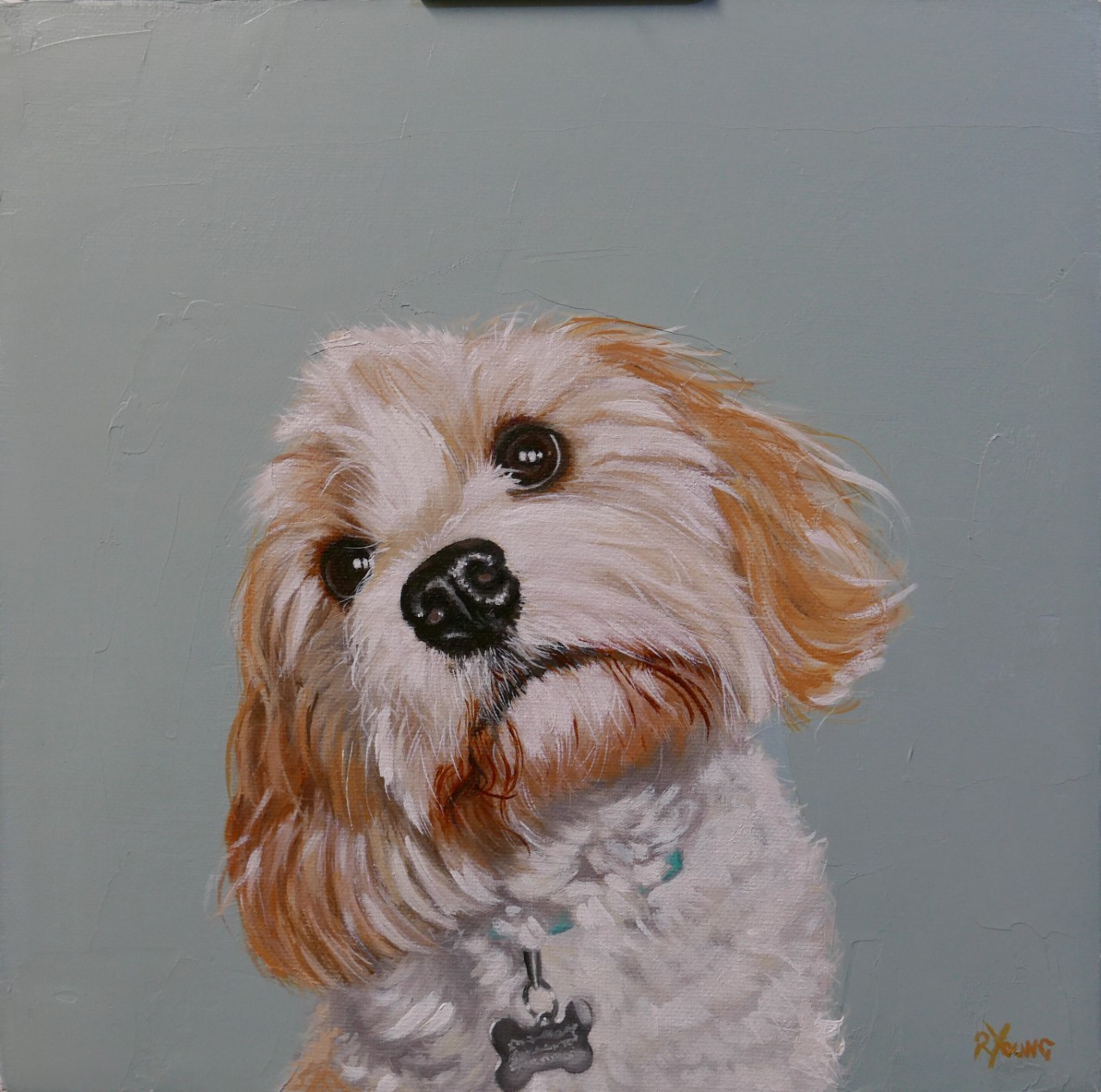 Bertie dog painting by Ricky Young