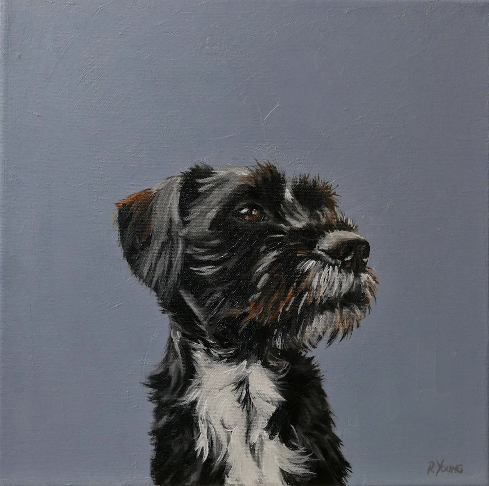Wilson dog oil painting