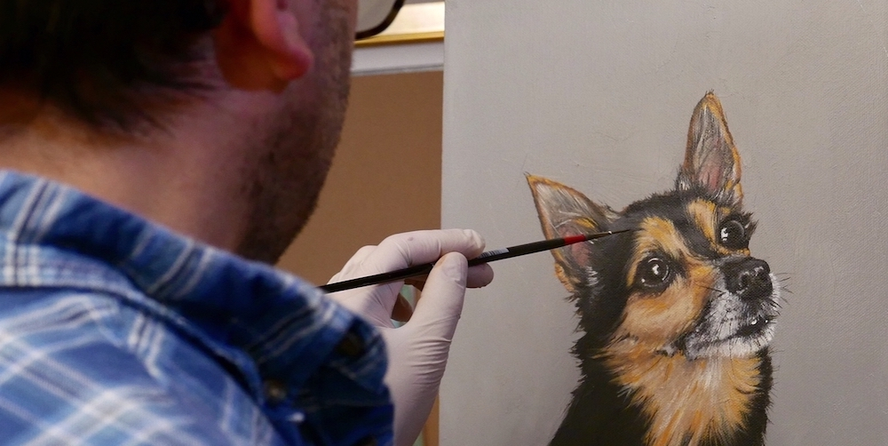 professional dog portrait artist in Ribble Valley, Lancashire
