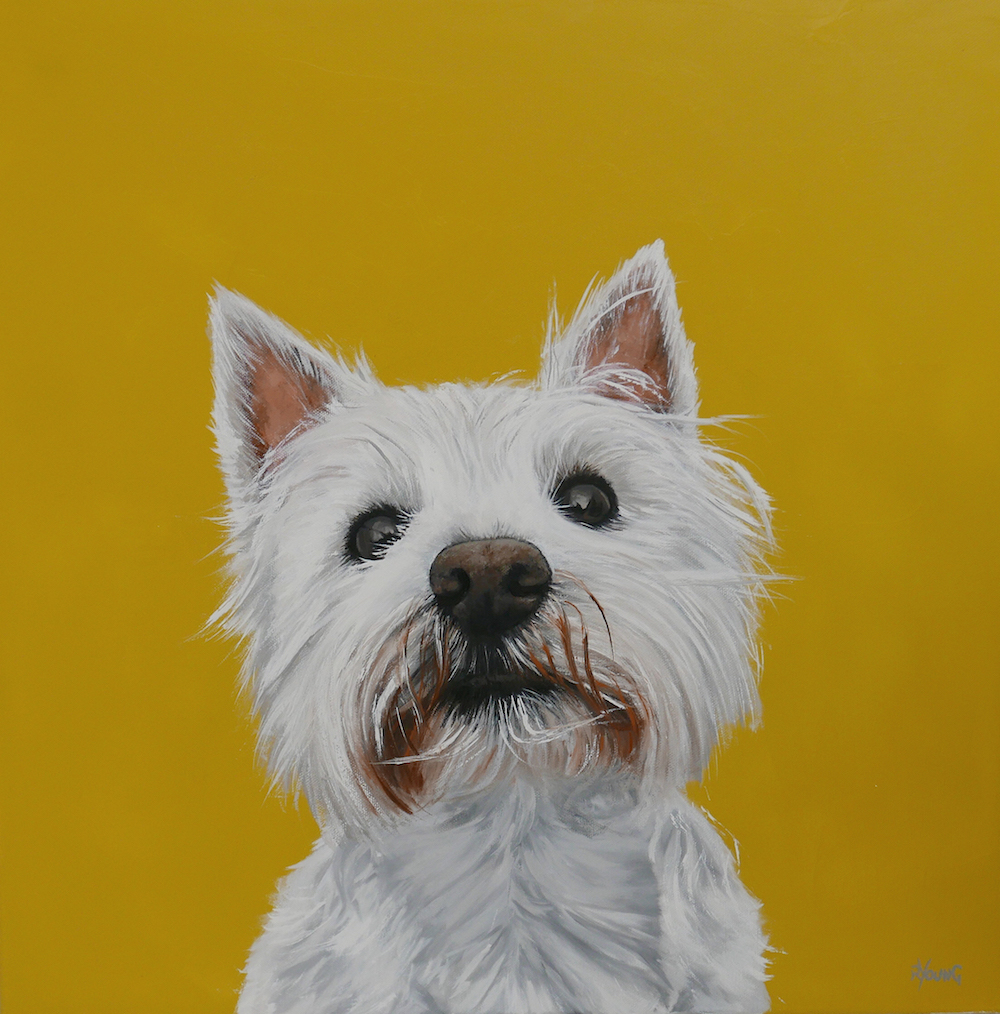 Heather dog oil painting